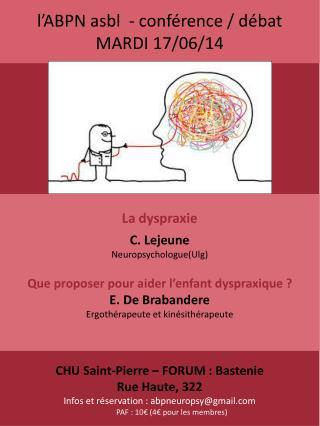 l'ABPN asbl  - conférence / débat MARDI 17/06/14