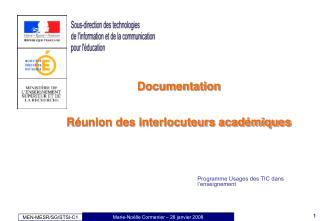 Documentation Réunion des interlocuteurs académiques
