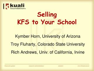 Selling KFS to Your School