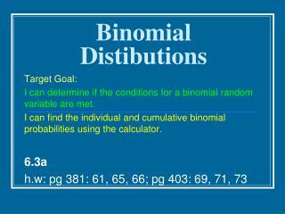 Binomial Distibutions