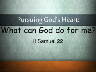 Pursuing God's Heart: What can God do for me?