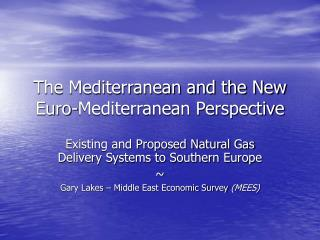 The Mediterranean and the New Euro-Mediterranean Perspective