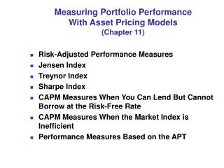 Measuring Portfolio Performance With Asset Pricing Models Chapter 11