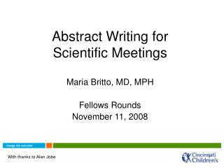 Abstract Writing for Scientific Meetings