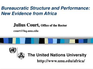 Bureaucratic Structure and Performance: New Evidence from Africa