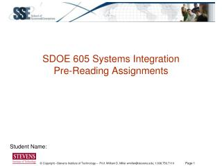 SDOE 605 Systems Integration Pre-Reading Assignments