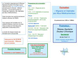 Formation  ��Migraine et C�phal�e par Abus M�dicamenteux