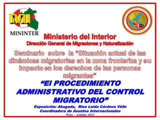 Ministerio  del Interior Dirección General de Migraciones y Naturalización