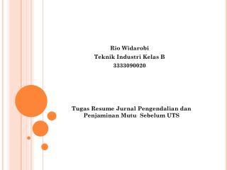 Tugas  Resume  Jurnal Pengendalian dan Penjaminan Mutu Sebelum  UTS