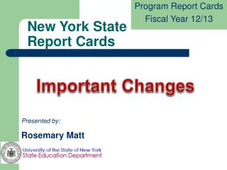 New York State  Report Cards