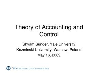 Theory of Accounting and Control
