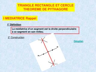 TRIANGLE RECTANGLE ET CERCLE THEOREME DE PYTHAGORE