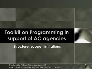 Toolkit on Programming in support of AC agencies