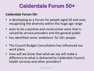 Calderdale Forum 50+