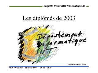 Les diplômés de 2003