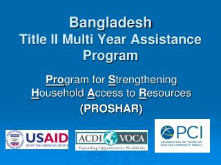 Bangladesh  Title II Multi Year Assistance Program
