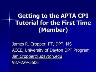 Getting to the APTA CPI Tutorial for the First Time (Member)