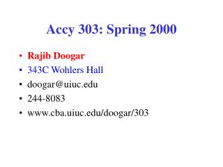 Accy 303: Spring 2000