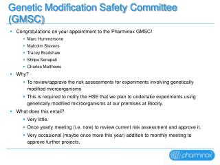 Genetic Modification Safety Committee (GMSC)