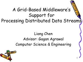 A Grid-Based Middleware's  Support for  Processing Distributed Data Streams