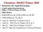 Chemistry 48101 Winter 2003