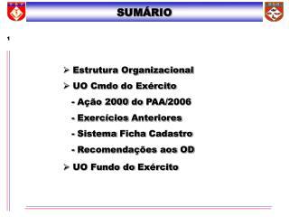   Estrutura Organizacional   UO Cmdo do Exército  Ação 2000 do PAA/2006 - Exercícios Anteriores