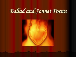 Ballad and Sonnet Poems