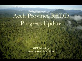 Aceh Province REDD  Progress Update GCF Meeting Banda Aceh May 2010