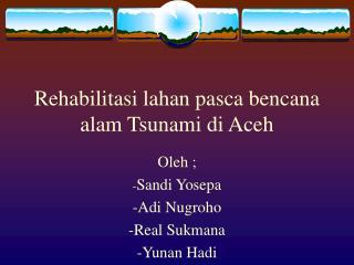 Rehabilitasi lahan pasca bencana alam Tsunami di Aceh