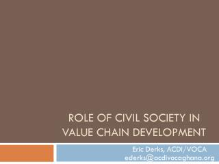 Role of Civil Society in Value Chain Development