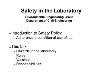 Environmental Engineering Group Department of Civil Engineering