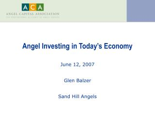 Angel Investing in Today's Economy
