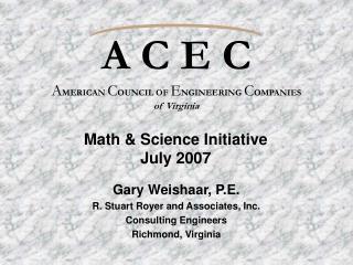 A C E C A MERICAN  C OUNCIL OF  E NGINEERING  C OMPANIES of Virginia