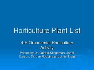 Horticulture Plant List