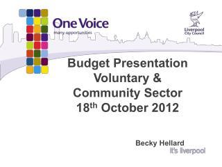 Budget Presentation Voluntary &  Community Sector 18 th  October 2012  Becky Hellard