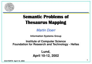 Semantic Problems of Thesaurus Mapping