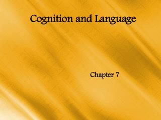 Cognition and Language