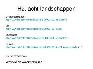 H2, acht landschappen