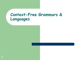 Context-Free Grammars & Languages