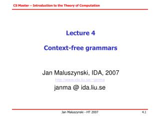 Lecture 4 Context-free grammars