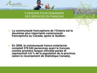 5 RAISONS POUR DEMANDER  DES SERVICES EN FRAN�IAS