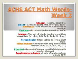 ACHS ACT Math Words-Week 2