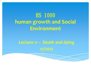 HS 1000  human growth and Social Environment
