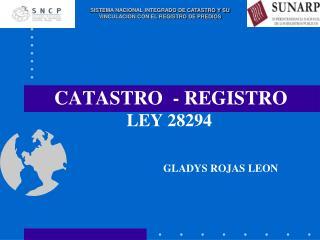 CATASTRO  - REGISTRO  LEY 28294