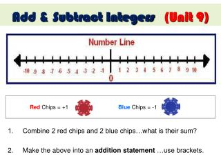 1.     Combine 2 red chips and 2 blue chips�what is their sum?