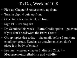 To Do, Week of 10.8