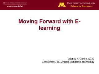 Moving Forward with E-learning