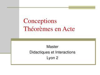 Conceptions Théorèmes en Acte