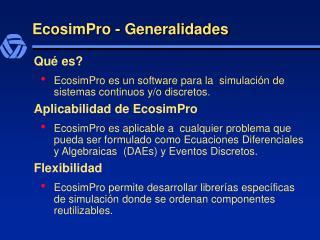 EcosimPro - Generalidades