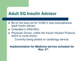 Adult SQ Insulin Advisor